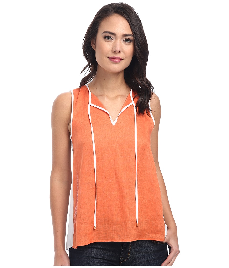 Calvin Klein - Hi-Lo Mixed Linen Top (Ember) Women's Sleeveless