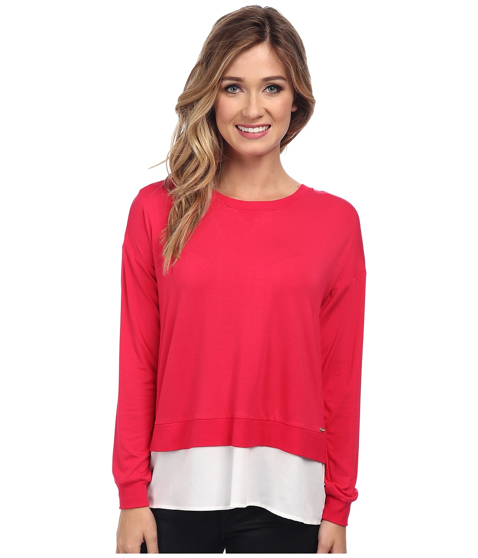 Calvin Klein - L/S Top w/ Crepe De Chine Bottom (Lipstick Pink) Women's Clothing