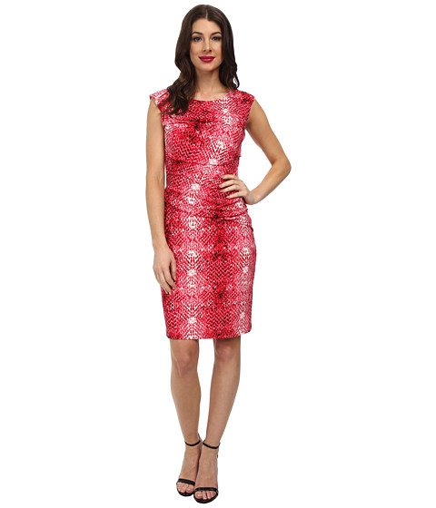 Calvin Klein - Print Side Ruched Dress (Lipstick Combo) Women