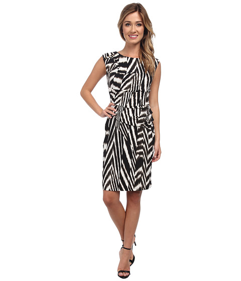 Calvin Klein - Print Side Ruched Dress (Zebra) Women