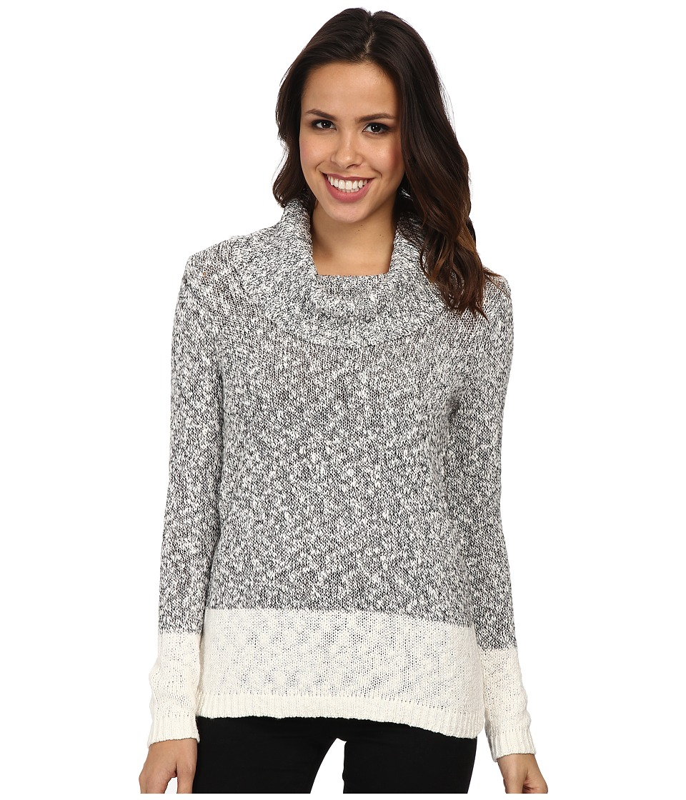 Calvin Klein - Marled Blocked Cowl Sweater (White Combo) Women's Sweater