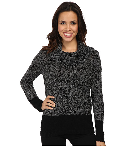 Calvin Klein - Marled Blocked Cowl Sweater (Black/White) Women's Sweater