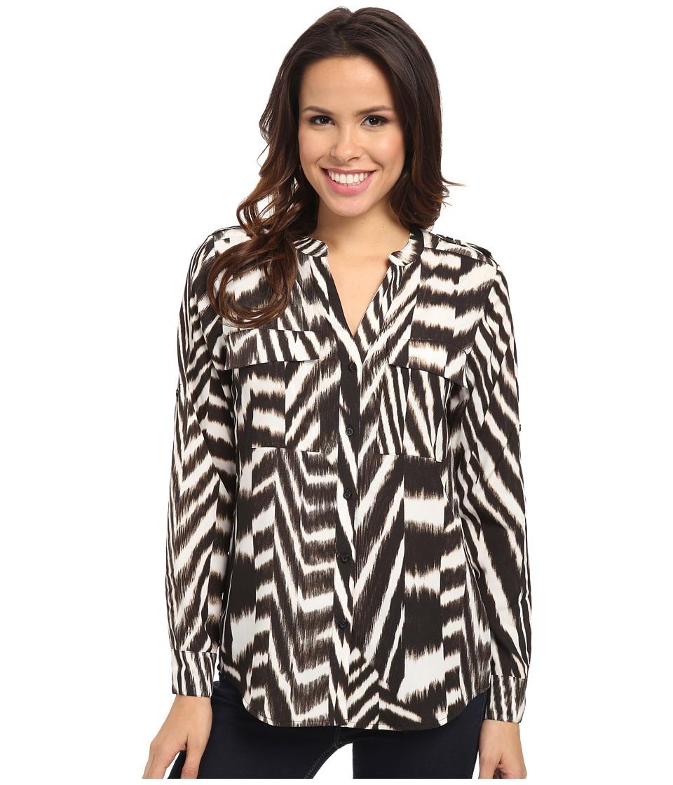 Calvin Klein - Print Crew Neck Roll Sleeve (Zebra) Women's Blouse
