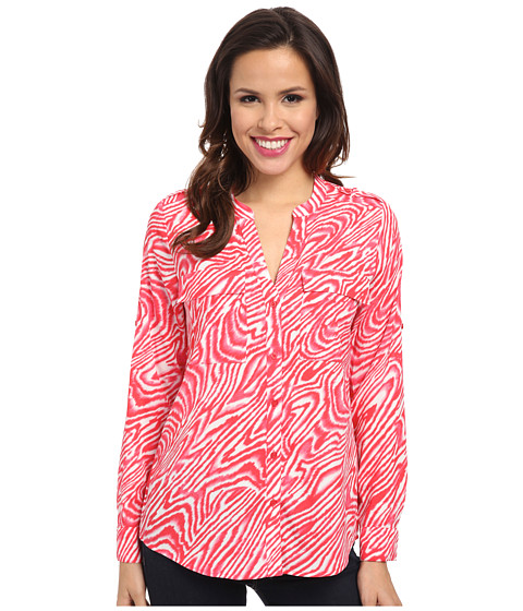 Calvin Klein - Print Crew Neck Roll Sleeve (Pink Multi) Women's Blouse