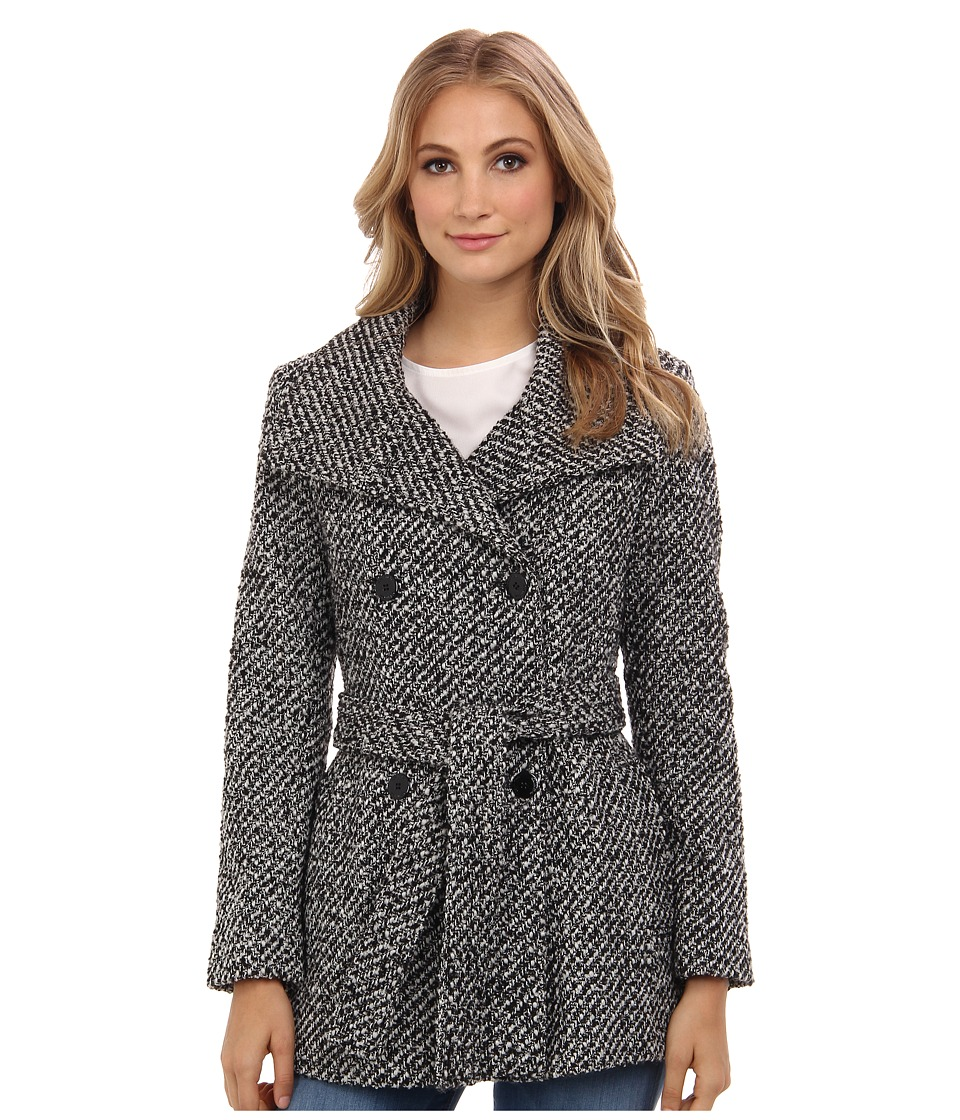 Calvin Klein - Double Breasted Belted Basket Weave City Tweed Coat CW380102 (White/Black 1) Women's Coat