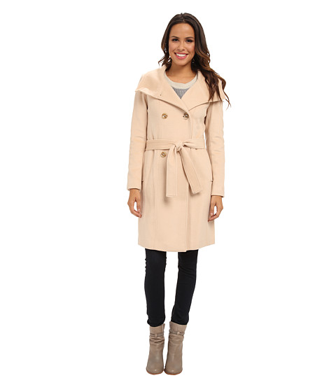 Calvin Klein - Double Breasted Belted Convertible Stand Collar Wool Blend Coat CW287083 (Palomino) Women's Coat