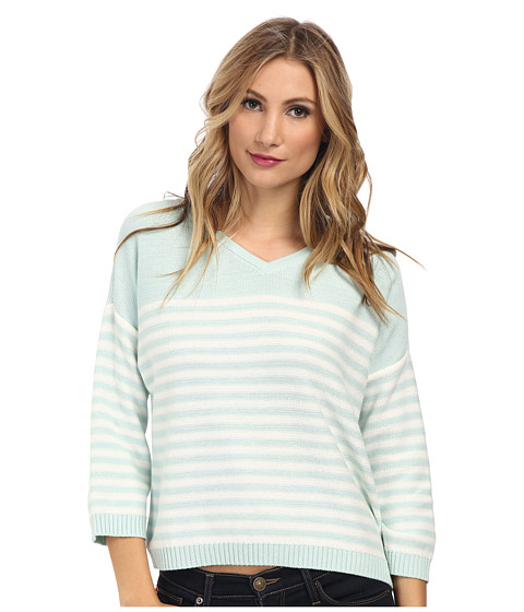 Vince Camuto - 3/4 Sleeve V-Neck Striped Sweater (Aqua Ice) Women