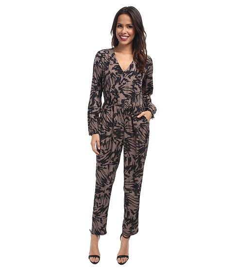 Vince Camuto - Long Sleeve Floral Burst Jumpsuit w/ Wrap Front (Rich Black) Women's Jumpsuit & Rompers One Piece