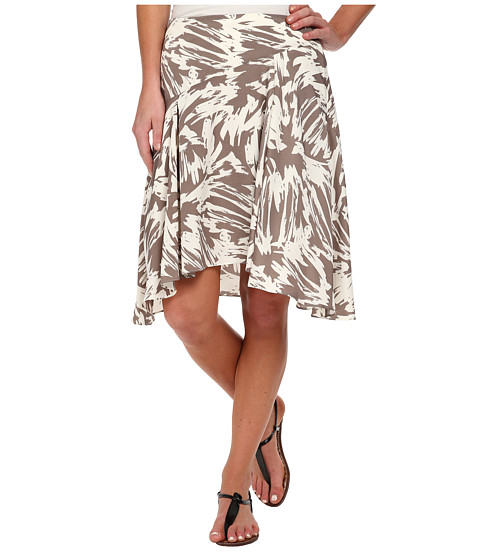 Vince Camuto - Side Zip Asymmetrical Flounce Floral Burst Skirt (White Clay) Women's Skirt
