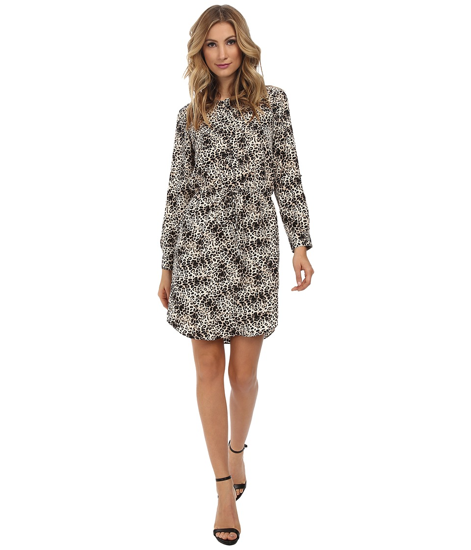 Vince Camuto - 3/4 Sleeve Animal Legacy Drawstring Dress (Rich Black) Women