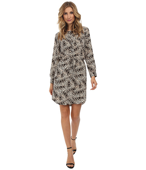 Vince Camuto - 3/4 Sleeve Animal Legacy Drawstring Dress (Rich Black) Women's Dress