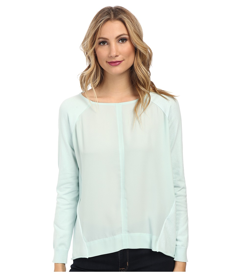 Vince Camuto - Long Sleeve Woven Front Mixed Media Sweater (Aqua Ice) Women