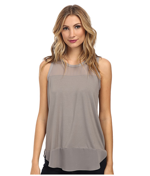 Vince Camuto - Short Sleeve Mixed Media Top w/ Poly Chiffon (Mink) Women