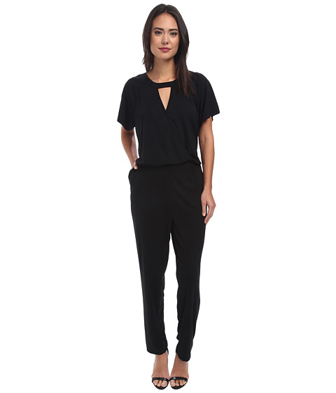 Vince Camuto - Short Sleeve Jumpsuit w/ Front Keyhole (Rich Black) Women's Jumpsuit & Rompers One Piece