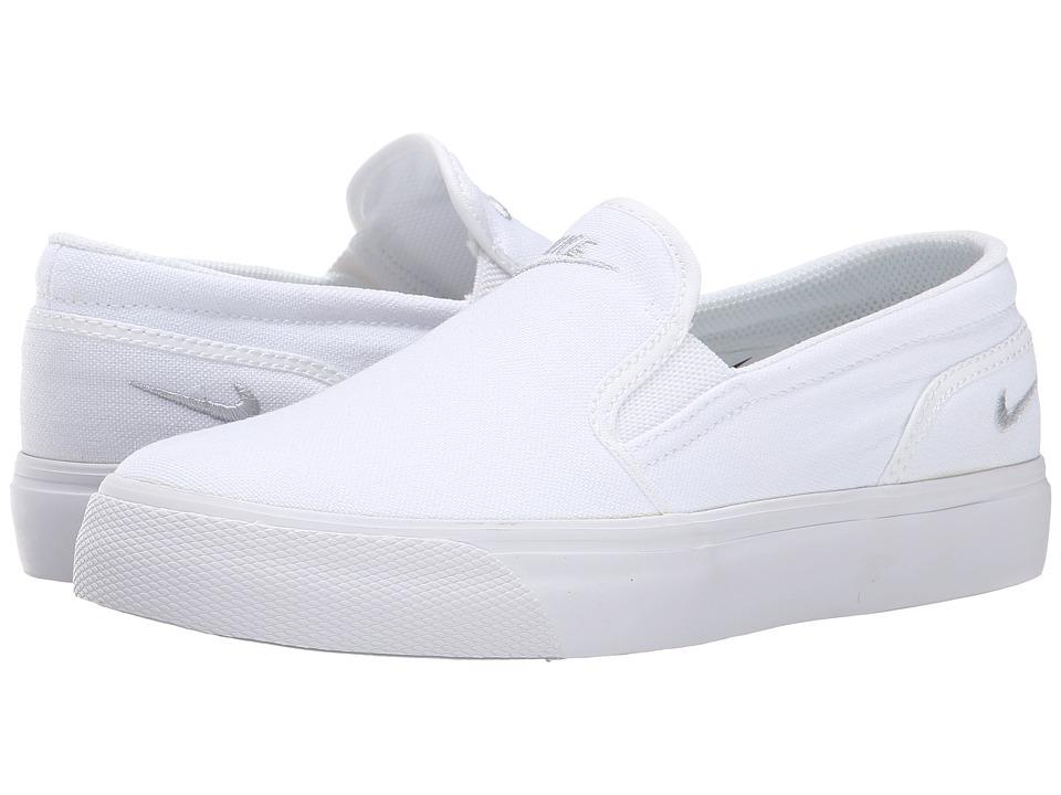 Nike - Toki Slip Canvas (White/Metallic Platinum) Women's Shoes