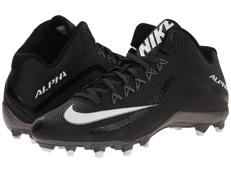 Nike - Alpha Pro 2 3/4 TD (Black/Metallic Dark Grey/White) Men's Cleated Shoes