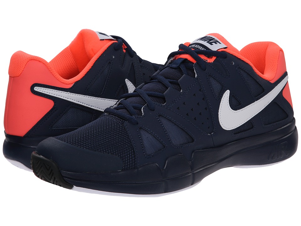 Nike - Air Vapor Advantage (Midnight Navy/Hot Lava/White) Men's Tennis Shoes