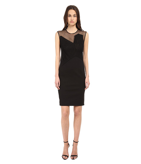 CoSTUME NATIONAL - Illusion Neckline Sheath Dress (Black) Women's Dress