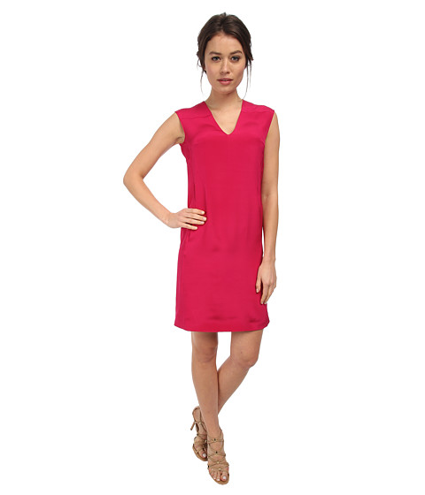 CoSTUME NATIONAL - V-Neck Shift Dress (Fuchsia) Women's Dress