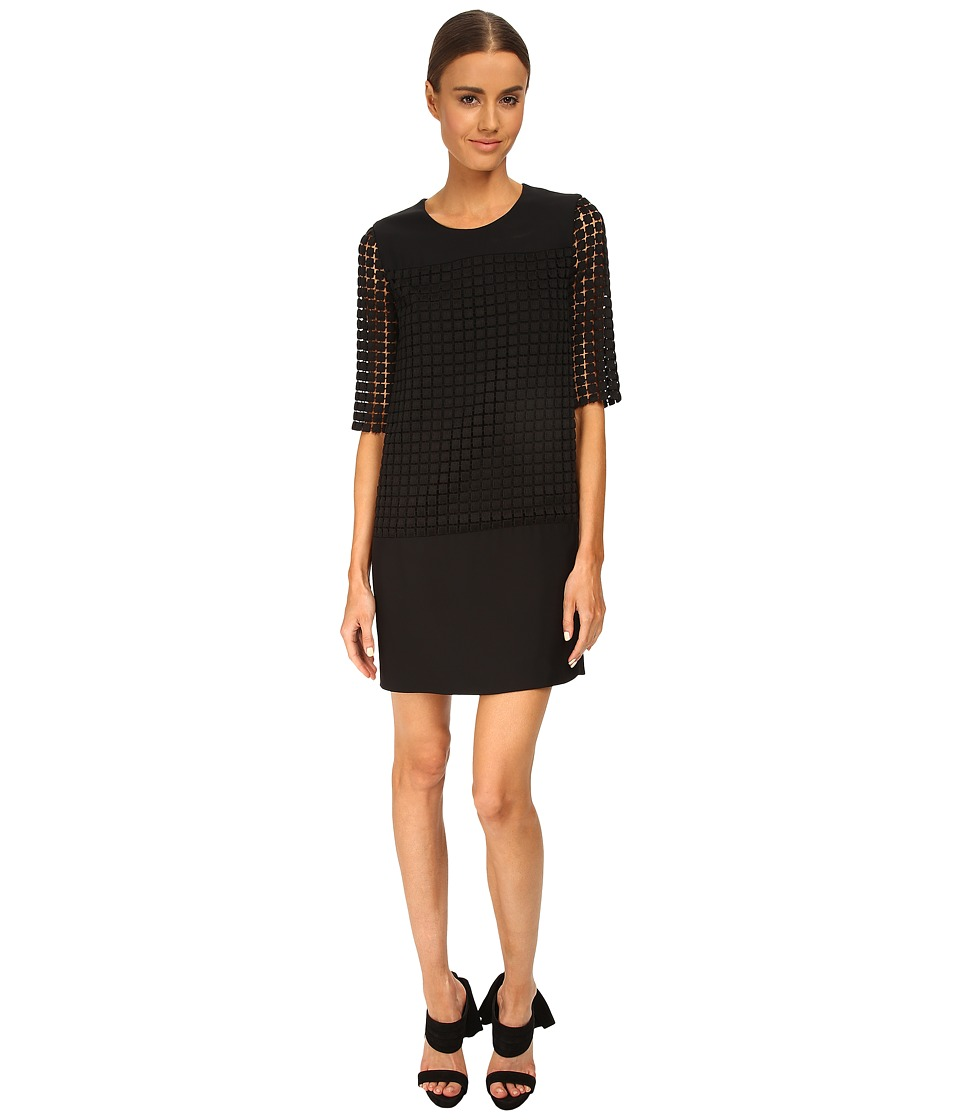 CoSTUME NATIONAL - Sheer Sleeve Shift Dress (Black) Women's Dress