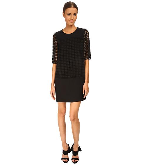 CoSTUME NATIONAL - Sheer Sleeve Shift Dress (Black) Women's Dress
