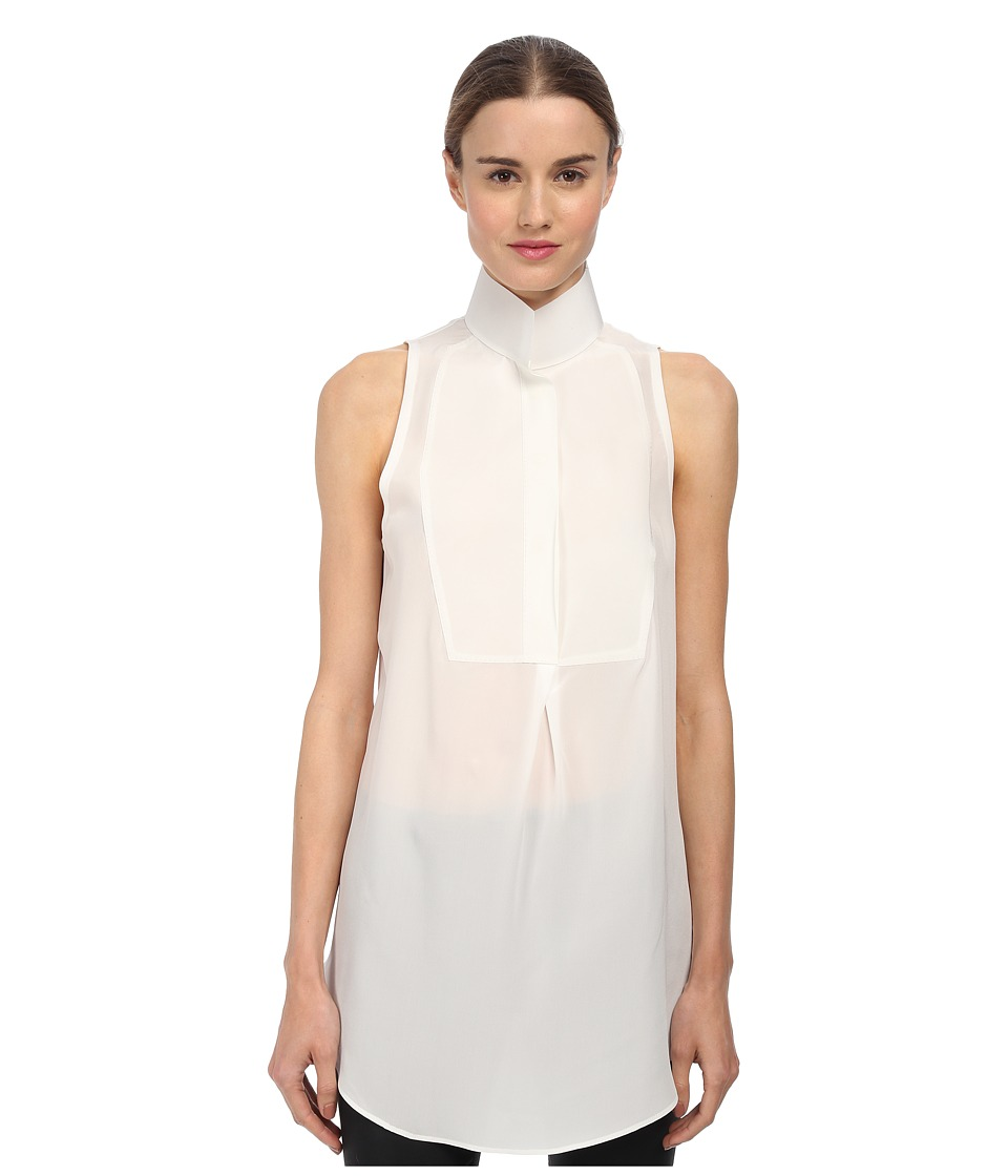 CoSTUME NATIONAL - Sleeveless Collared Blouse (Off-White) Women's Blouse