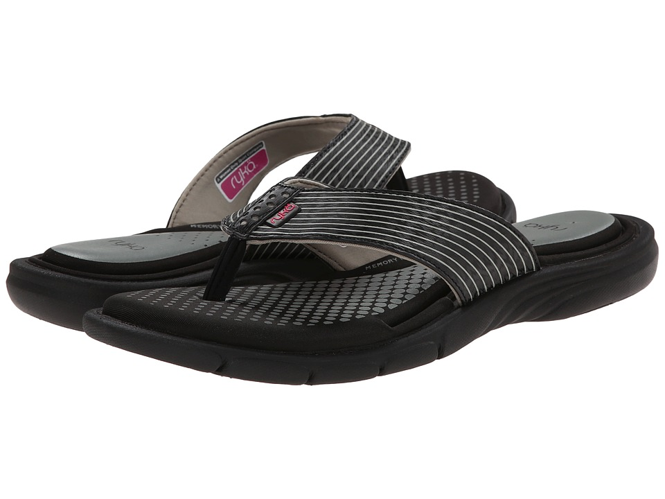 Ryka - Roanoke (Black/Ryka Pink/Met Steel Grey) Women's Sandals