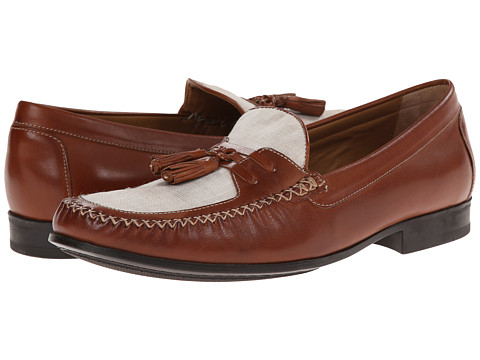 Johnston & Murphy - Cresswell Woven Tassel (Tan Calfskin/Beige Linen) Men's Slip-on Dress Shoes