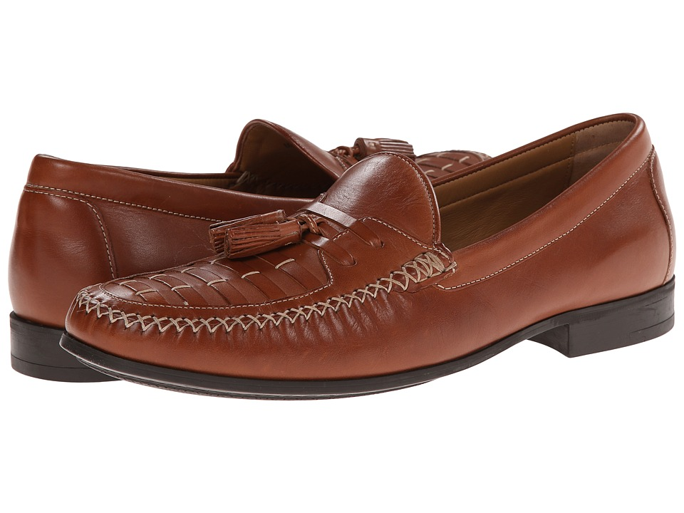Johnston & Murphy - Cresswell Woven Tassel (Tan Calfskin) Men's Slip-on Dress Shoes