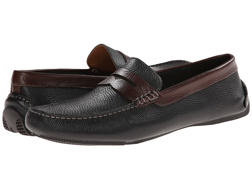 Johnston & Murphy - Hardiman Penny (Black/Dark Tumbled Full Grain) Men's Slip-on Dress Shoes