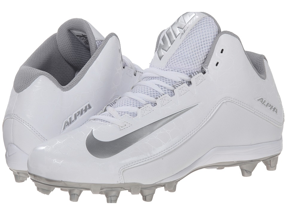Nike - Alpha Strike 2 3/4 TD (Metallic Silver/White) Men's Cleated Shoes