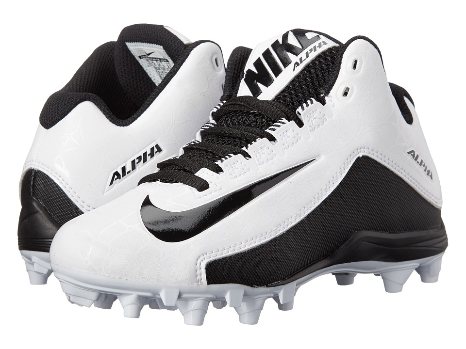 Nike Kids Alpha Strike 2 3/4 TD BG Football (Little Kid/Big Kid) (White/Black) Boys Shoes
