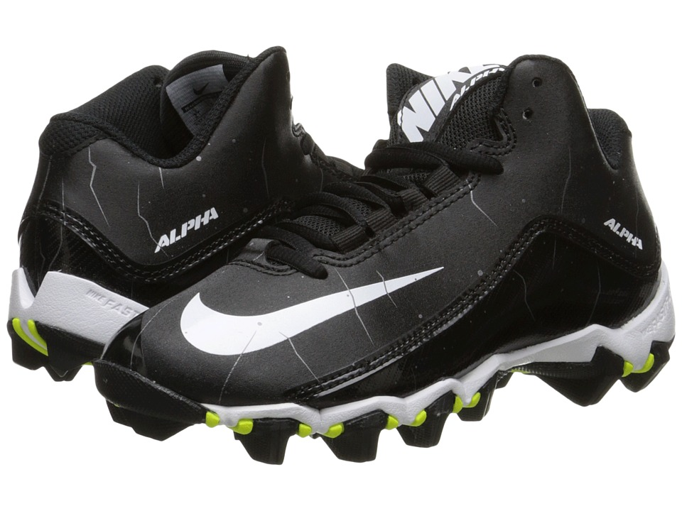 Nike Kids Alpha Shark 2 3/4 BG Football (Toddler/Little Kid/Big Kid) (Black/Anthracite/White) Boys Shoes