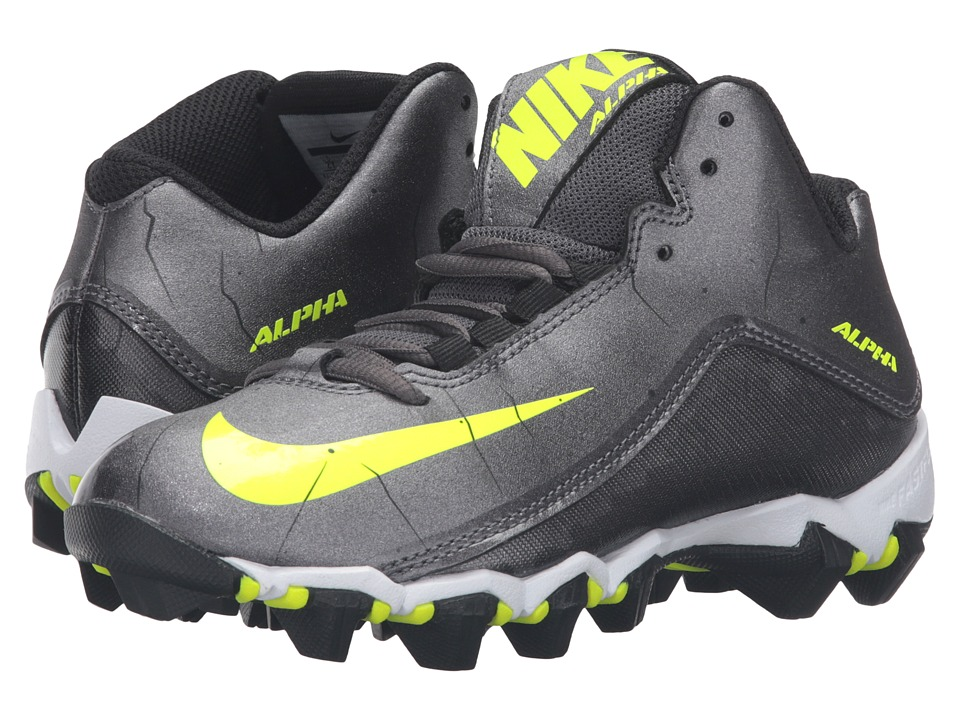 Nike Kids Alpha Shark 2 3/4 BG Football (Toddler/Little Kid/Big Kid) (Metallic Dark Grey/Black/White) Boys Shoes