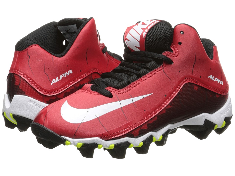 Nike Kids Alpha Shark 2 3/4 BG Football (Toddler/Little Kid/Big Kid) (University Red/Black/White) Boys Shoes