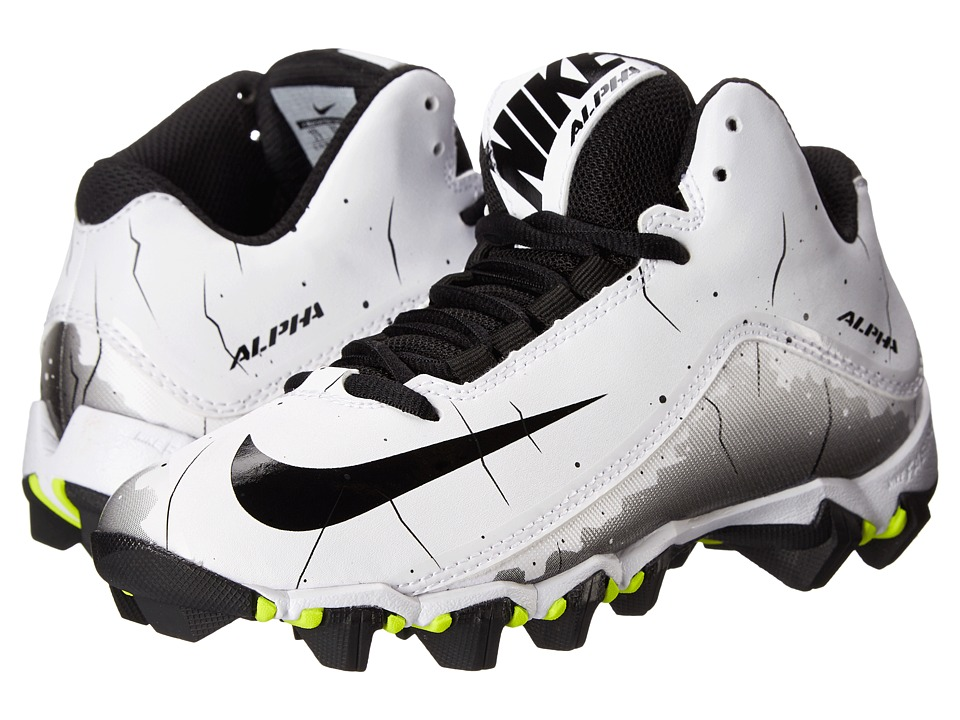 Nike Kids Alpha Shark 2 3/4 BG Football (Toddler/Little Kid/Big Kid) (White/Black/Black) Boys Shoes