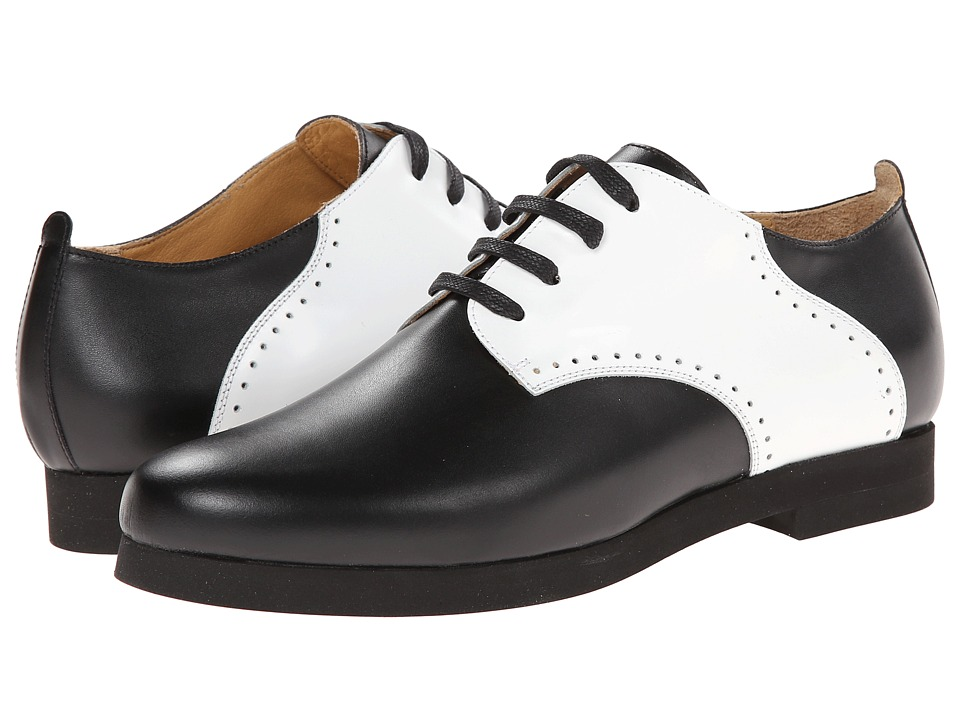 MM6 Maison Margiela - Contrast Leather Oxfords (Black/White) Women's Lace up casual Shoes
