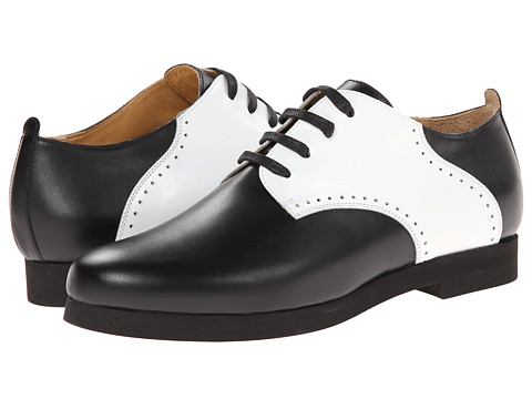 MM6 Maison Margiela - Contrast Leather Oxfords (Black/White) Women