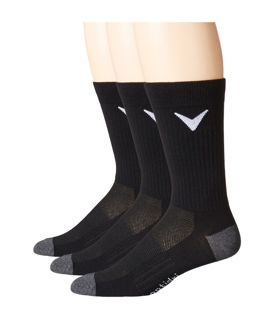 Callaway - Tour Tech Crew Three-Pair Pack (Black) Men's Crew Cut Socks Shoes