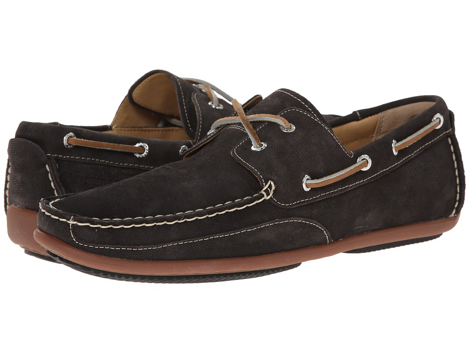 Sebago - Canton Two-Eye (Black Embossed Suede) Men's Shoes