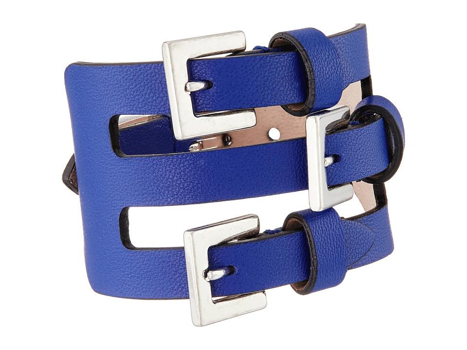 Alexander McQueen - Multi Buckle Leather Cuff Bracelet (Ultramarine) Bracelet