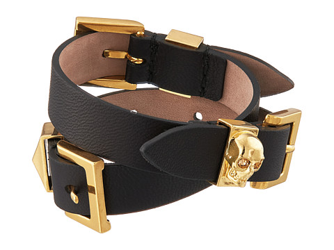 Alexander McQueen - Three Buckle Double Wrap Bracelet (Black) Bracelet