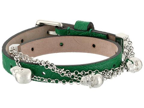 Alexander McQueen - Skull Bracelet Double Wrap (Emerald) Bracelet