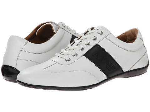 Armani Jeans - Leather Lace-Up Driver (White/Black) Men
