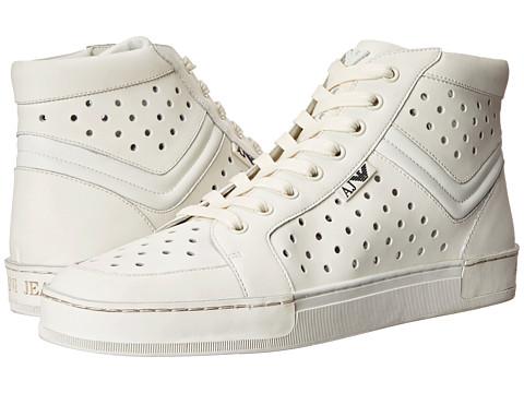 Armani Jeans - Perforated Hi-Top Sneaker (White) Men