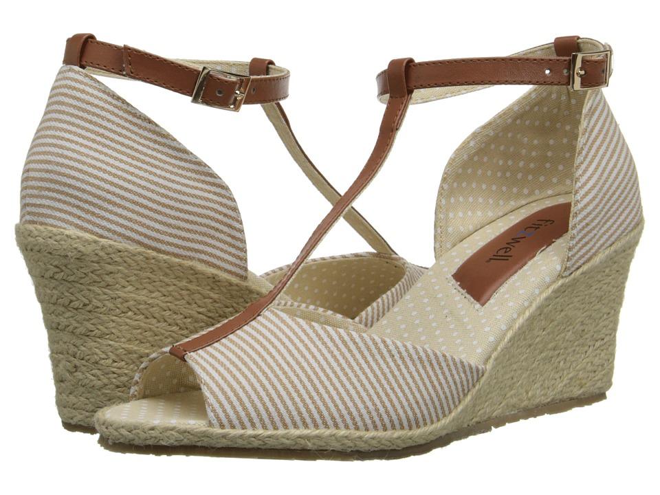 Fitzwell - Teri (Beige Mini Stripe Fabric/Tan) Women's Shoes