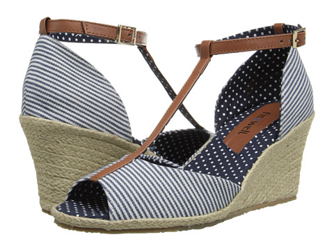 Fitzwell - Teri (Navy Mini Stripe Fabric/Tan) Women