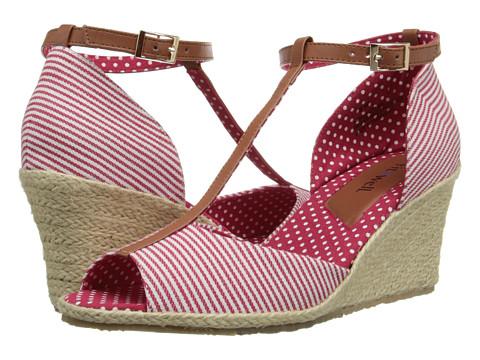 Fitzwell - Teri (Red Mini Stripe Fabric/Tan) Women's Shoes