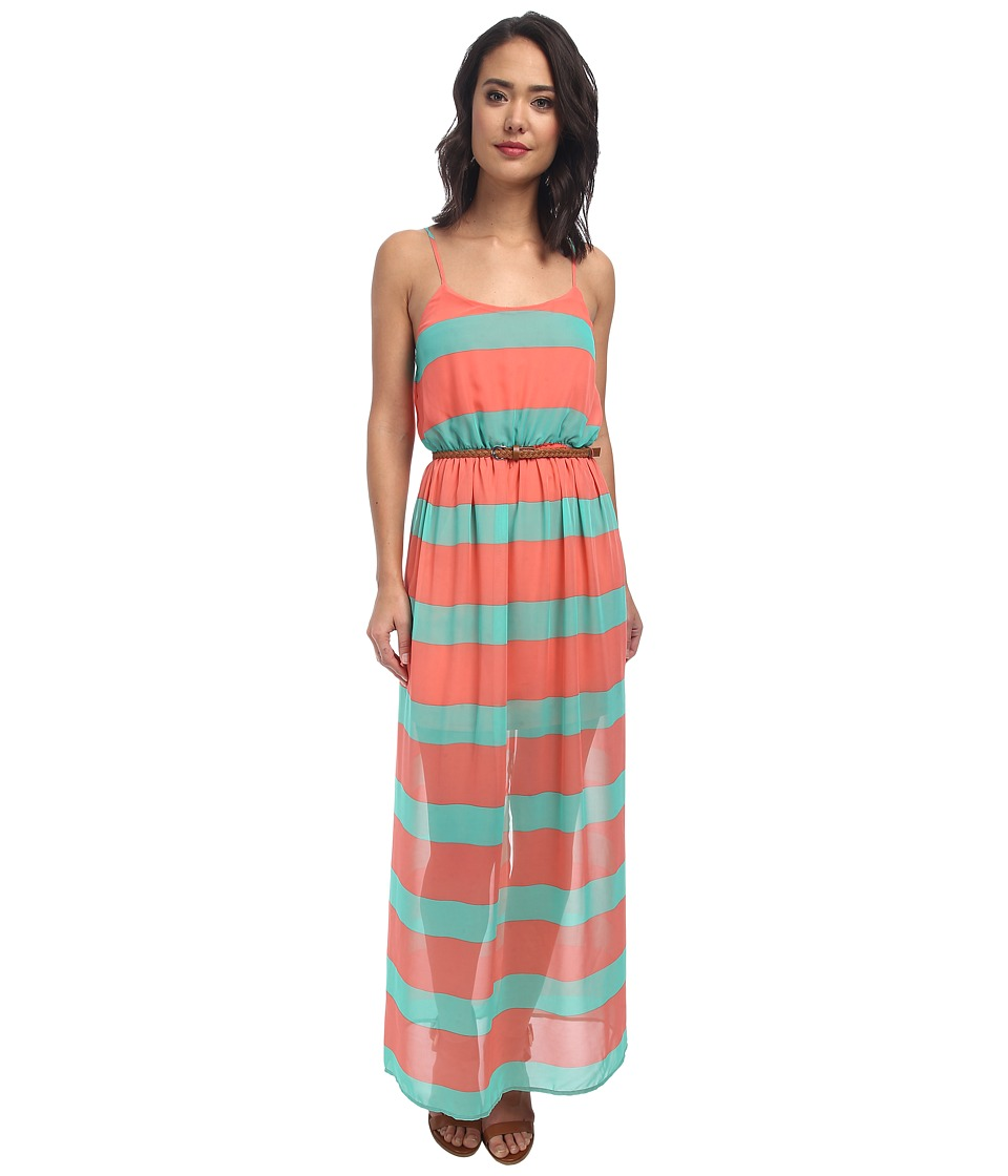 Gabriella Rocha - Stripe Chiffon Maxi (Coral/Mint) Women's Dress