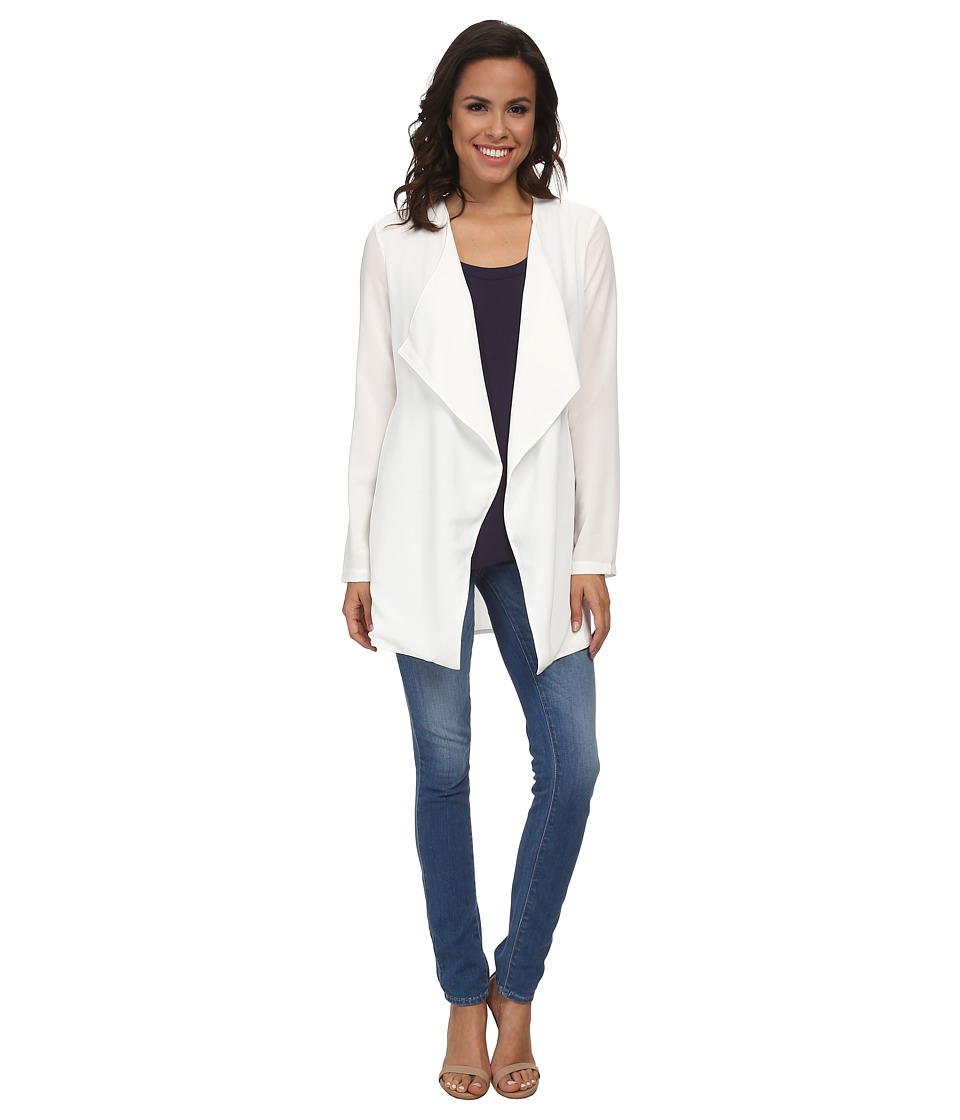 Brigitte Bailey - Kailey Sheer Back Cardigan (White) Women's Sweater